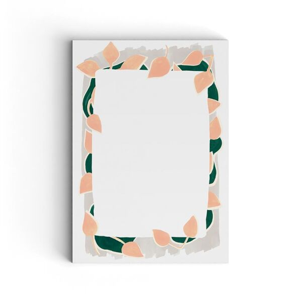 Mini Notizblock | pink leaves on grey
