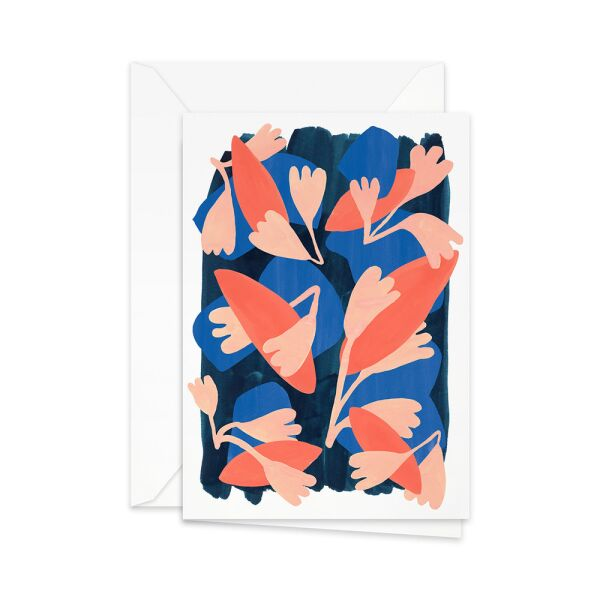 Greeting Card | coral leaves on blue