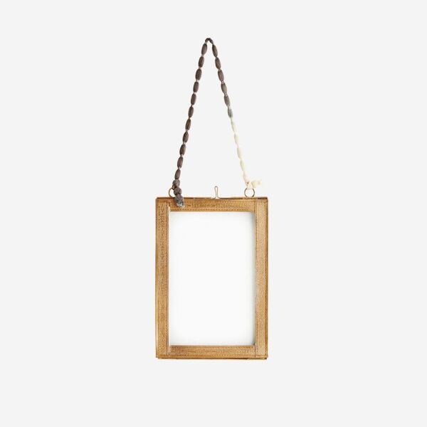Hanging photo frame w/ brass borders Clear glass, ant.brass, nylon ribbon