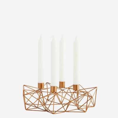 4 cup candle holder Ant.brass, wire mesh