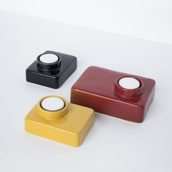 Urban Nature Culture wax light holder stone red ochre