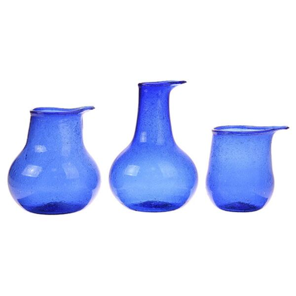 recycled glass vases cobalt 3er Set